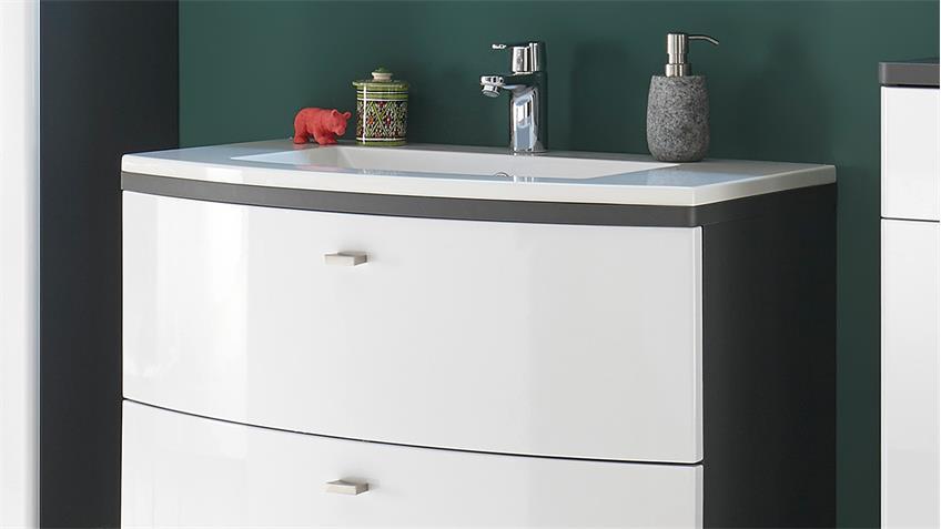 Badezimmer Set ATLANTA inkl. Waschbecken und LED weiß Hochglanz grau