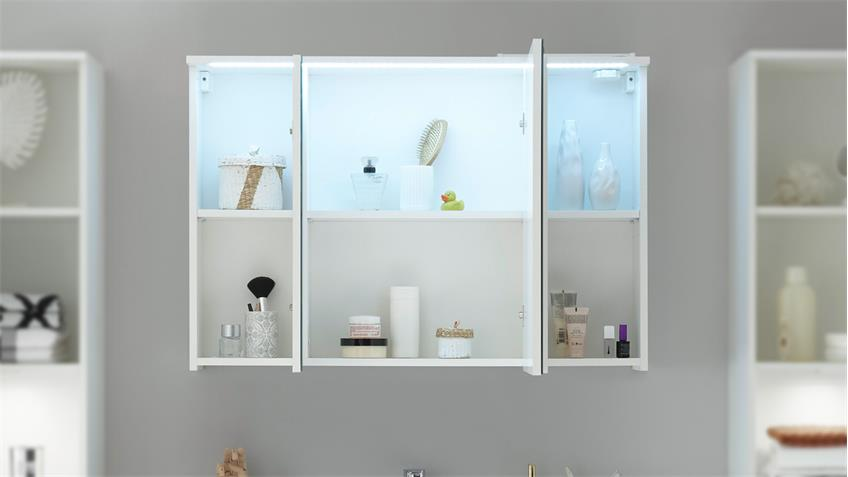 Spiegelschrank WHITE Spiegel Badezimmerspiegel Schrank weiß inkl. LED