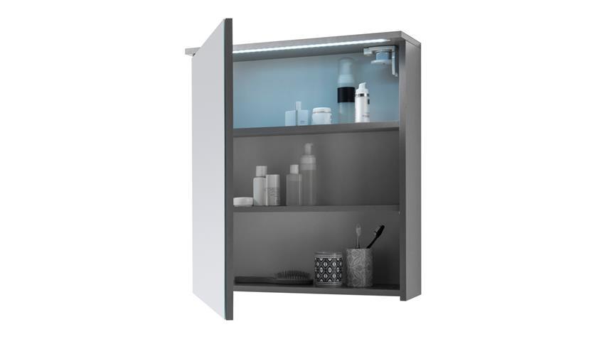 Spiegelschrank TWO Spiegel Badezimmerspiegel Titan grau mit LED 60x68