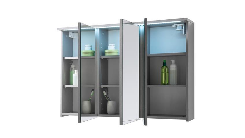 Spiegelschrank TWO Badezimmerspiegel Spiegel in Titan grau LED 100 cm