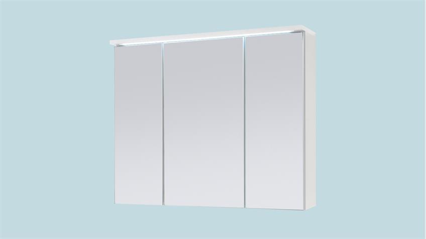 Spiegelschrank TWO Badezimmerspiegel Spiegel in weiß mit LED 80x68 cm
