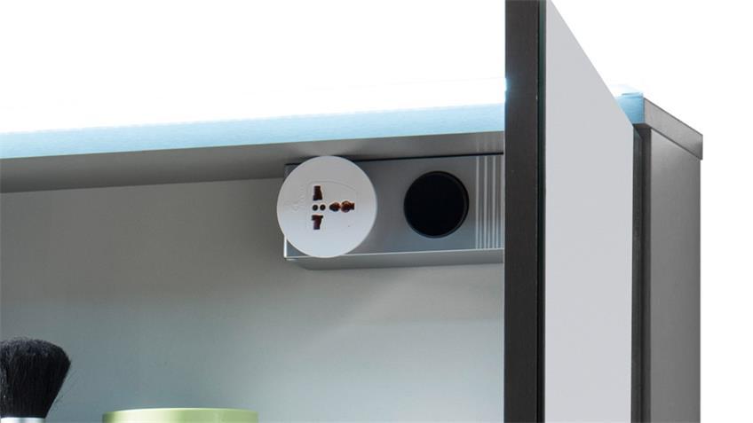 Spiegelschrank FOUR Spiegel Badezimmerspiegel in Titan grau LED 60x68