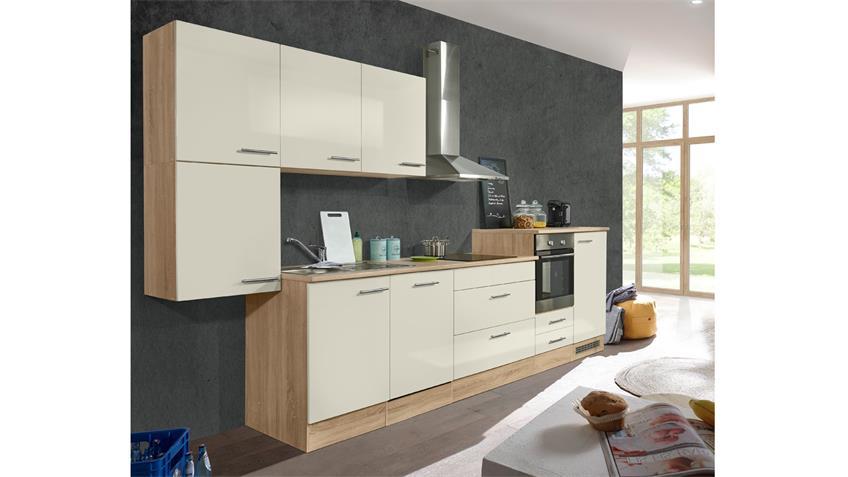 Küche PUMPKIN Küchenzeile in magnolie und Sonoma Eiche 390x211 cm