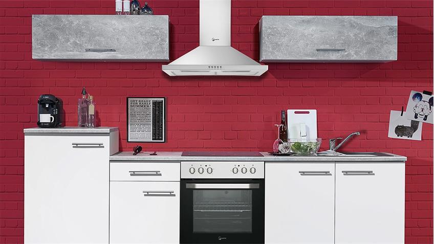 Küche SPICY Küchenzeile Küchenblock in weiß und Beton grau 270x195 cm