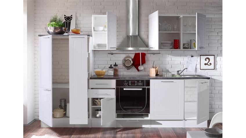 Küche WELCOME Küchenzeile in weiß Hochglanz und Matt mit Stone grau