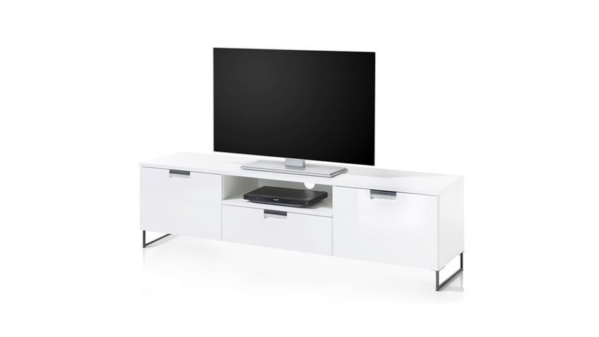 TV-Board 5 CALGARY Lowboard Kommode in weiß Hochglanz Tiefzieh 125x58