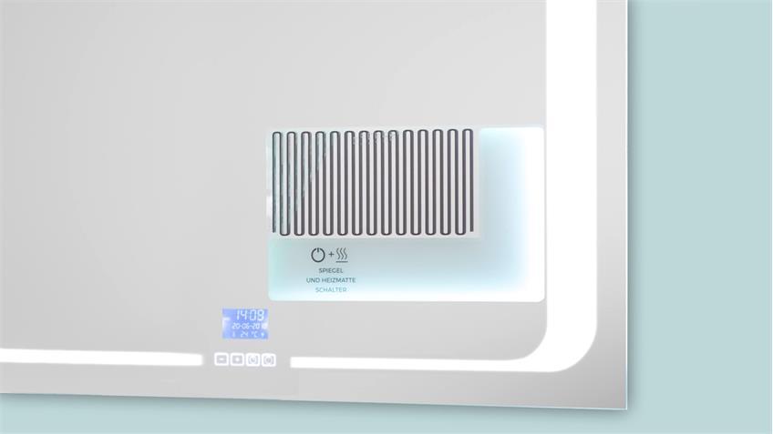Spiegel BAYO 2 Flurspiegel Wandspiegel mit LED und Funktionen 80x65 cm