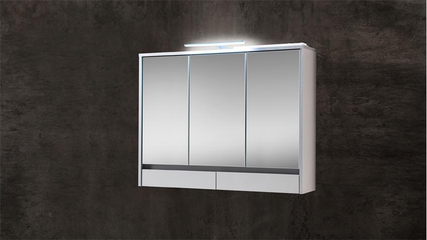 Spiegelschrank EIGHT Badezimmerspiegel Spiegel  weiß mit LED 100x72 cm
