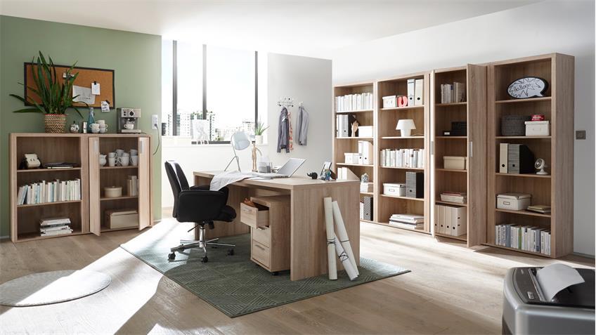 Büroschrank FACT Schrank Aktenschrank Büromöbel Sonoma Eiche 80x189 cm