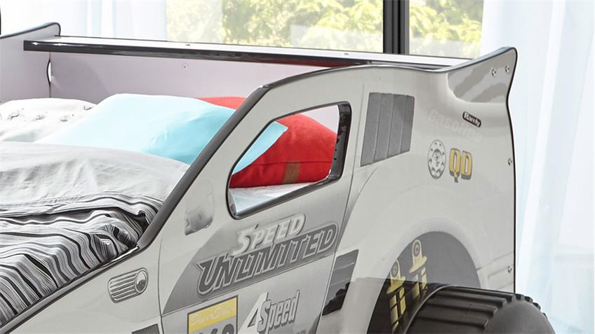 Abenteuerbett Autobett SUV mit LED Kinderbett weiß 90x200