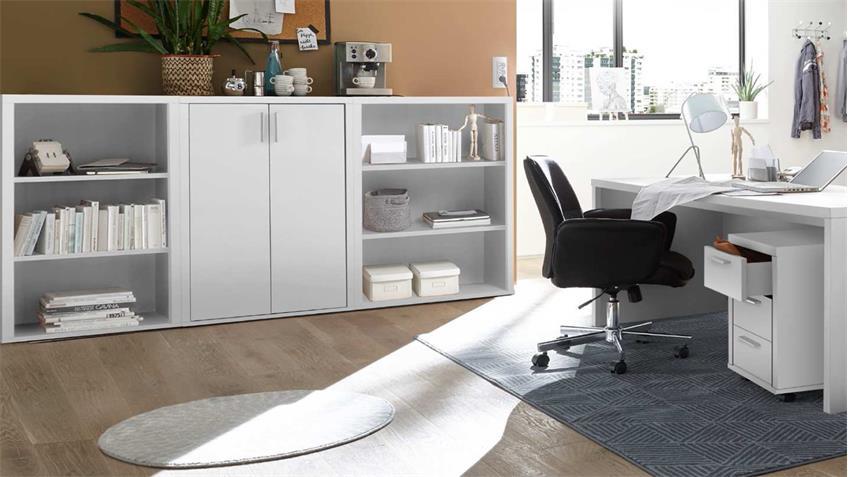 Büroset 8-Teilig FACT Büromöbel Regal Schrank Schreibtisch in weiß