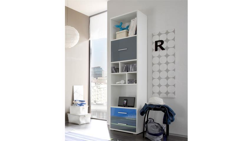 Jugendzimmer 5-teilig COLORI in weiß und Glas blau grau