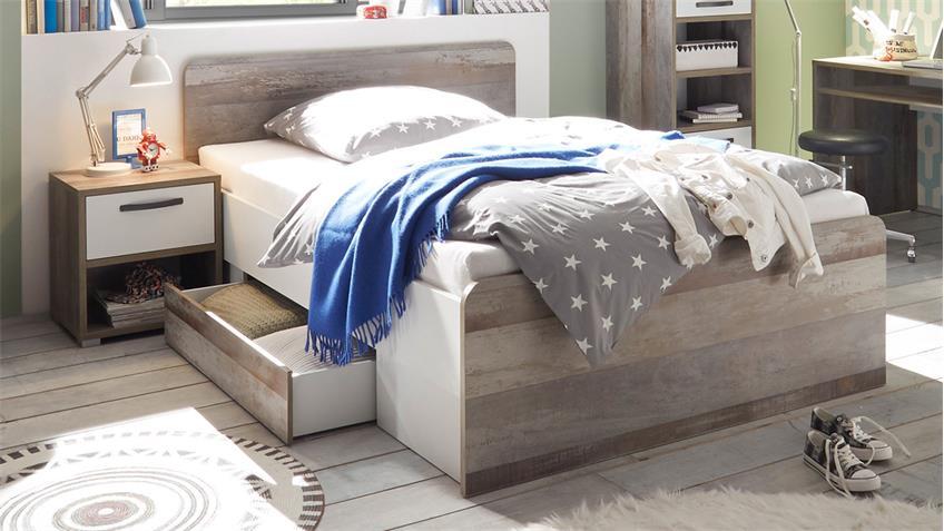Jugendzimmer MOON VICTOR Kinderzimmer Komplettset Driftwood weiß 4-tlg