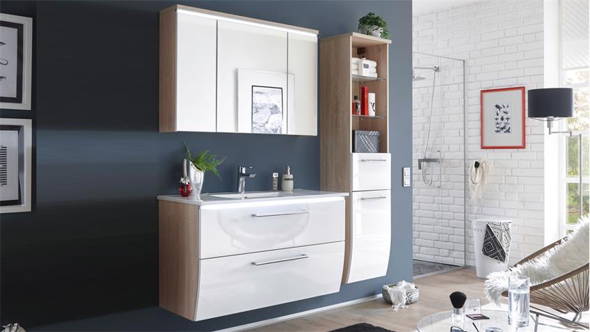 Badezimmer Set MIAMI 3-tlg in Eiche Hochglanz weiß mit Becken