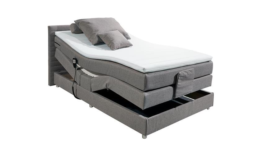 Boxspringbett CARMEN 1 Bett Stoff grau mit TTFK Topper Motor 100x200
