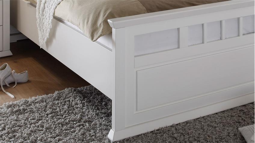 Bettanlage Emma Doppelbett 180 x 200  Nachttische Kiefer weiß