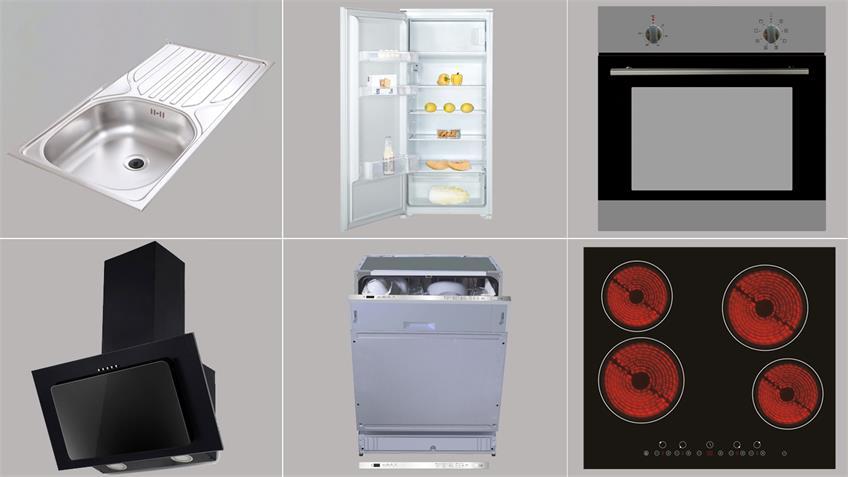 Küchenzeile JAZZ 4 Einbauküche weiß Hochglanz mit E-Geräten