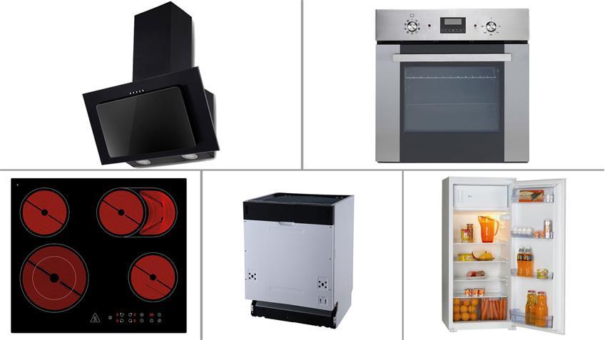 Küchenblock TURN Küche Betonoptik weiß matt mit E-Geräten