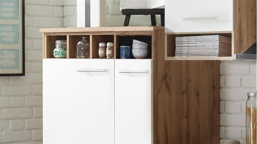 Küchenblock MADEIRA Wildeiche weiß Dekor mit E-Geräten