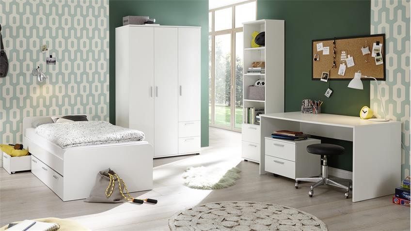 Jugendzimmer-Set BIBO 5-teilig weiß Dekor mit Kojenbett