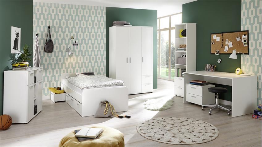 Jugendzimmer-Set BIBO 6-teilig weiß Dekor mit Kojenbett