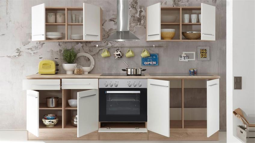 Küchenzeile WELCOME X Küche Sonoma Eiche weiß matt mit E-Geräten