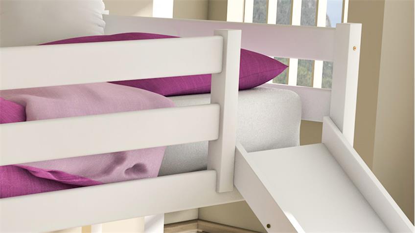 Hochbett JANNE Kiefer massiv weiß 90x200 mit Rutsche