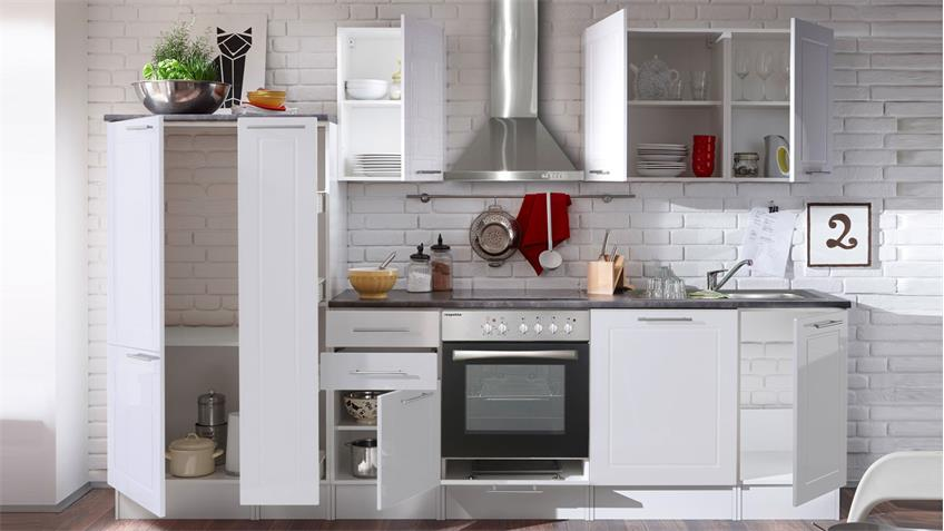 Küchenzeile WELCOME 6 weiß Hochglanz inkl. E-Geräten
