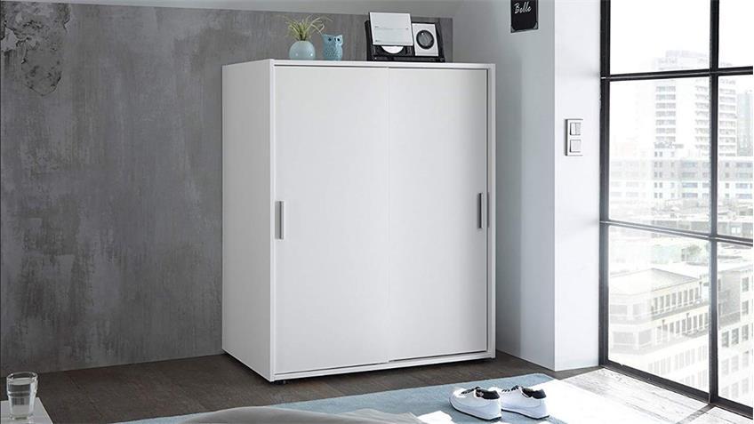 Schrankkommode LIORA 2 Türen weiß inkl. Kleiderstange