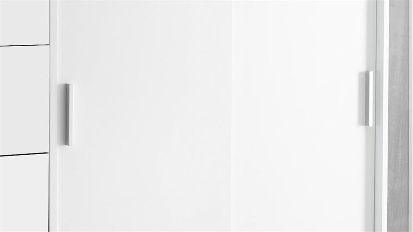 Schrankkommode LIORA 5 Schubkästen weiß  mit Kleiderstange