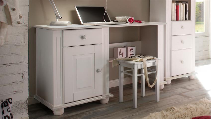 Jugendzimmer Schreibtisch Laura Kiefer massiv weiß