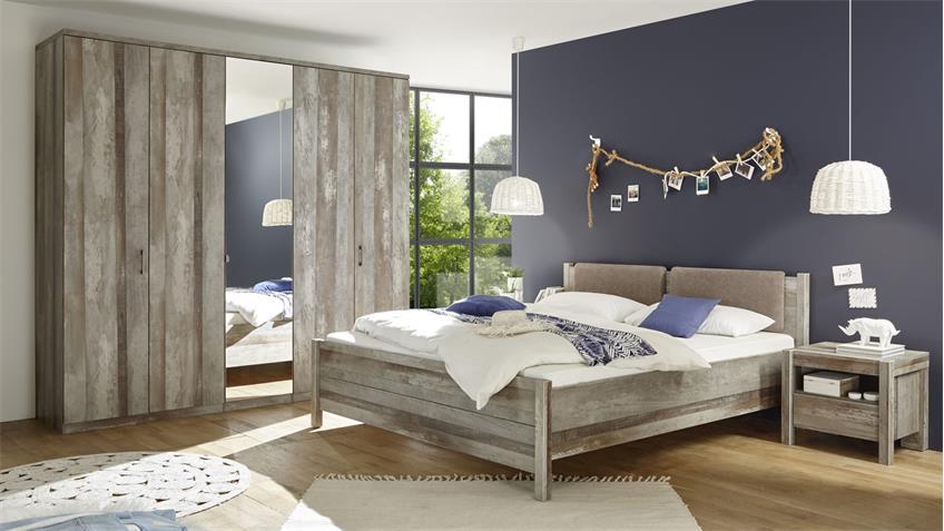 Kleiderschrank Montez 5-türig Spiegel Driftwood 234 cm