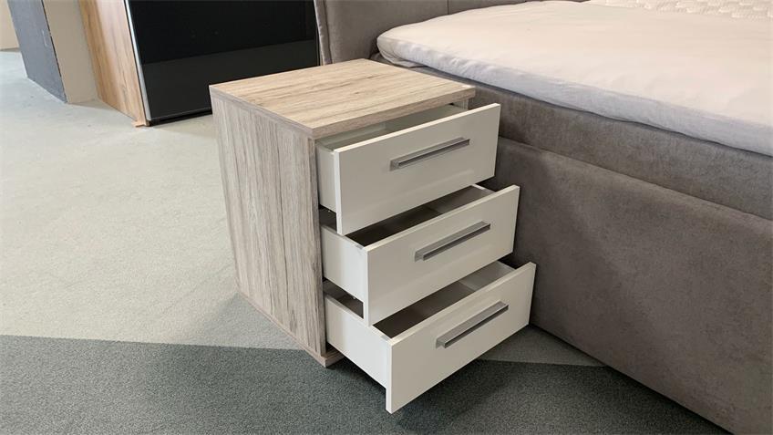 Nachttisch Store Sandeiche Look Hochglanz Weiß Softclose