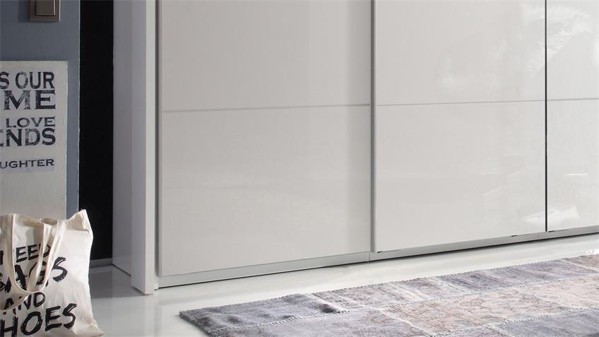 Kleiderschrank SKY 4 Hochglanz weiß 410 cm Synchrontüren