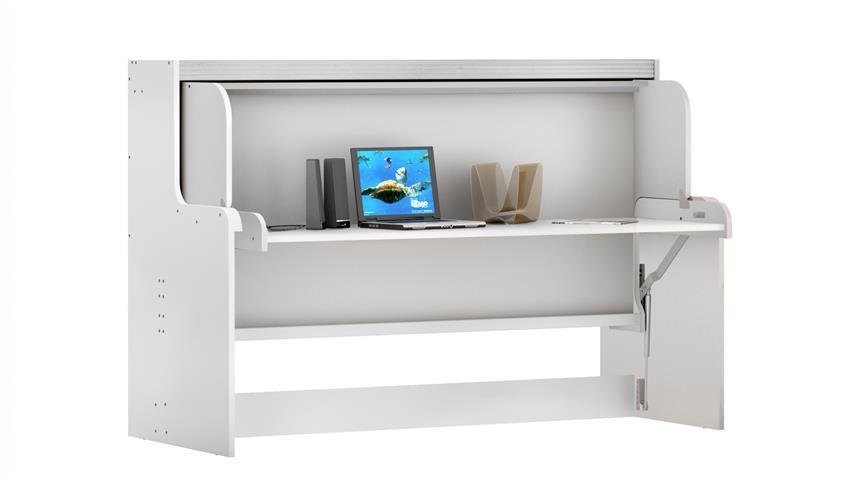 Klappbett Funktionsbett Dakota Schreibtisch Schrank weiß
