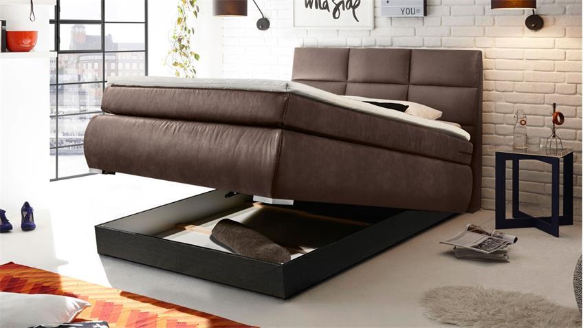Boxspringbett KOSALI 2 Bett in dunkel braun 140x200 cm