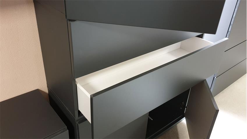 Highboard Bright graphit Schubkästen Türen mit push-to-open