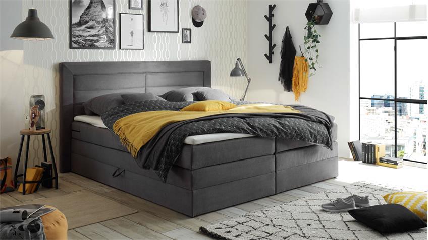 boxspringbett saba polsterbett bett in grau 180x200 cm. Black Bedroom Furniture Sets. Home Design Ideas