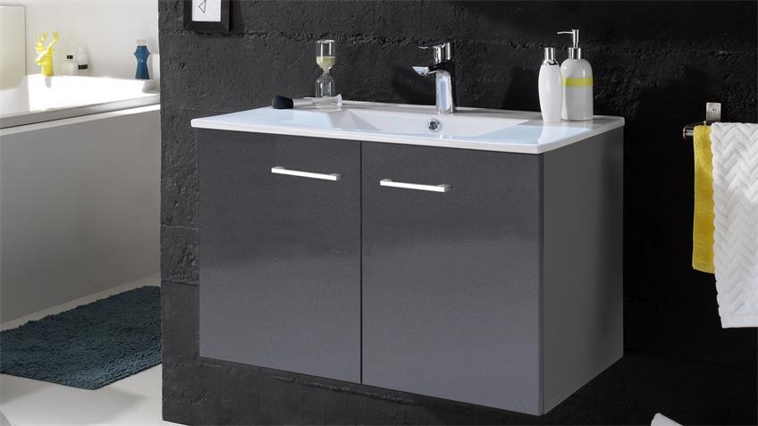 Waschbeckenunterschrank SPLASHI Waschtisch grau Hochglanz