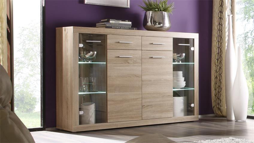 Highboard CAN CAN 5 Eiche Sonoma 4 Glasböden inkl. LED