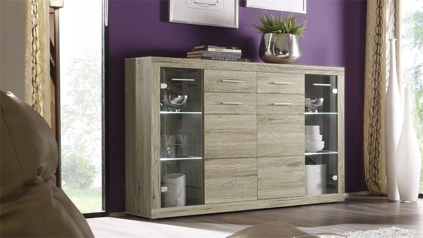 Highboard Can Can 5 Schrank inkl. LED San Remo Eiche
