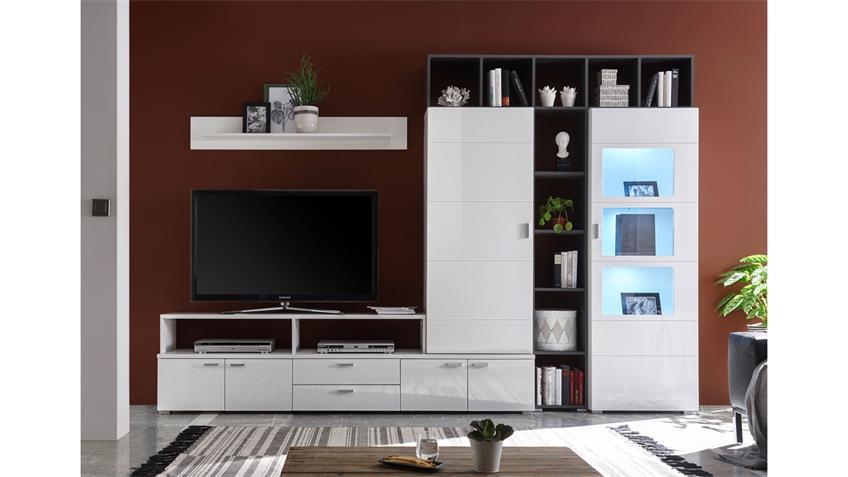 Wohnwand SKYLIGHT Anbauwand in weiß Hochglanz mit LED