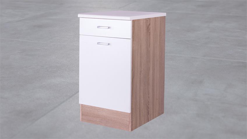 Küchen Unterschrank Max 50 cm Front weiß Korpus Eiche