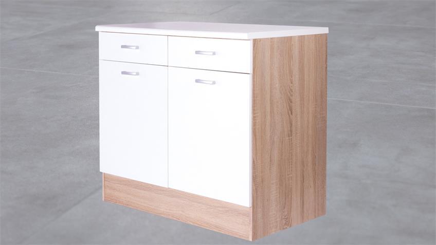 Küchen Unterschrank Max 100 cm Korpus Eiche Front weiß
