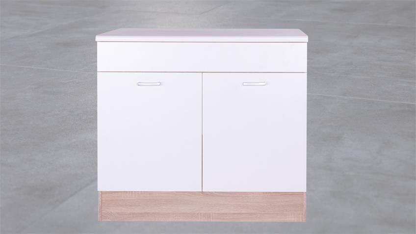 Küchen Spülenunterschrank Max Korpus Eiche Front weiß