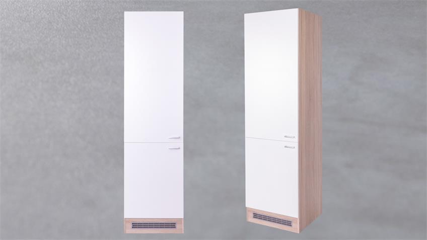 Küchen Gerätehochschrank Max Korpus Eiche Front weiß