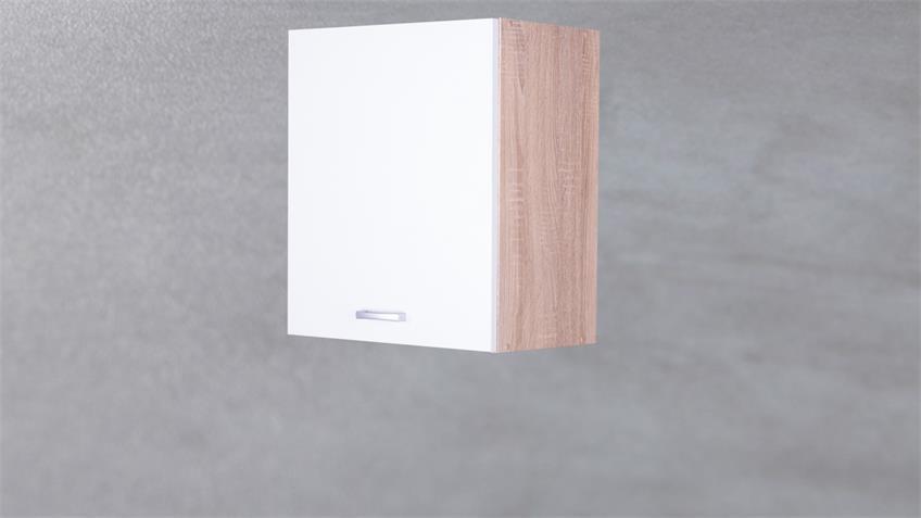 Küchen Hängeschrank Max 50 cm Korpus Eiche Front weiß