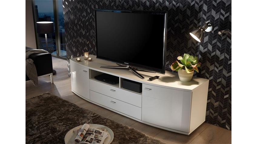 TV-Board ROUND Lowboard Kommode in weiß Hochglanz