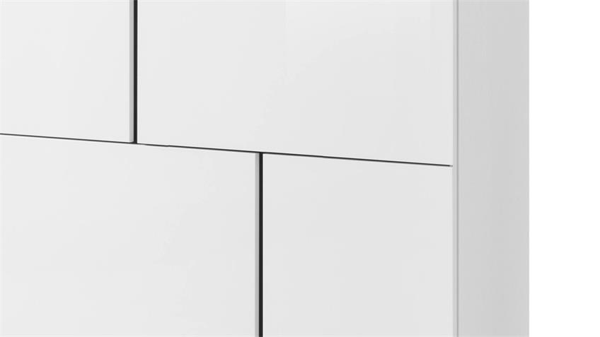 Kommode 5 PADUA LIGHT Aufbewahrung weiß Glanz grau