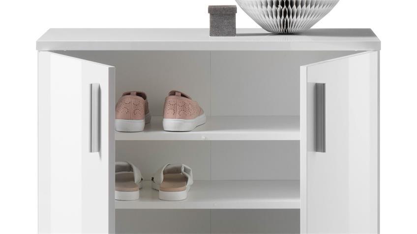 Schuhschrank 1 LINCOLN Schuhkommode in weiß Glanz